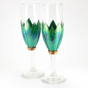 2 Emerald Green Champagne Glasses, Flute Glasses, Glass Champagne, Green Flute, Wedding Glasses, Wedding Flutes,Anniversary, Engagement Gift