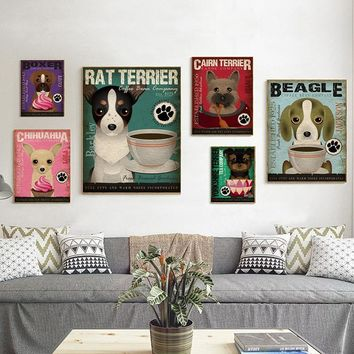 Hanging Wall Art Retro Dog Posters and Prints Wall Pictures for Living Room Beagle Animals Painting Kids Room Decor Cuadros