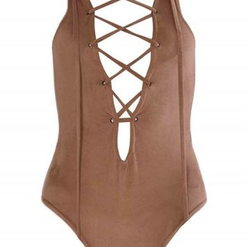 Anka Nude Suede Lace Up Front Plunge Bodysuit - Womens Suede Bodysuits | South Avenue Fashion