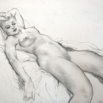 Vintage Art Drawing Pal Fried Hungarian Listed Artist Reclining Nude Sketch