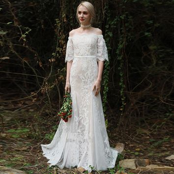 Mermaid Wedding dress Boho 2018 Exquisite Lace Off The Shoulder Half Sleeves Elegant Bride Dress Vestido De Noiva