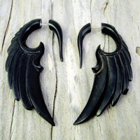 Fake Gauge Horn Earrings Wings Black Angel Tribal Earrings - Gauges Black Horn - FG002 H