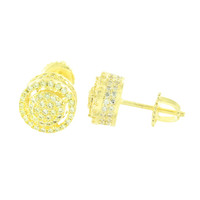Gold Finish Round 3D Men Earrings