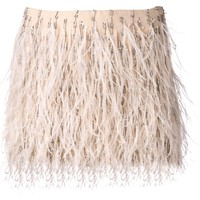 Haute Hippie ponte embroidered feathers skirt