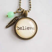 Believe Necklace - Semicolon Jewelry - Inspirational Pendant - Word Jewelry - Survivor Jewelry -  Suicide Awareness - Gift for Women