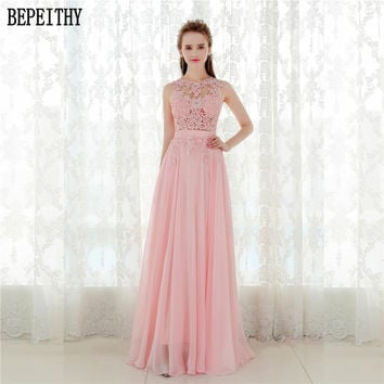 BEPEITHY Elegant A line Prom Dress Sexy Open Back Vestido De Festa Vintage Evening Dress Long Party Dress 2017 New Design
