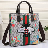 Gucci Women Honeybee Embroidery Leather Shoulder Bag Satchel Tote Handbag