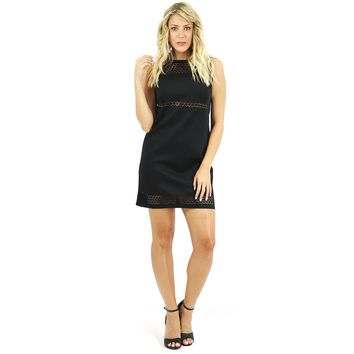 Black Scuba Cutout Shift Dress