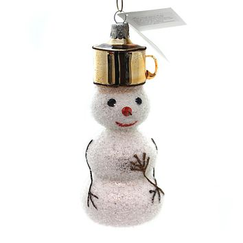Golden Bell Collection Snowman With Pot Hat Glass Ornament
