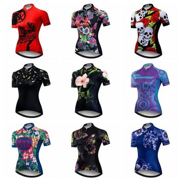 2018 Cycling Jersey Women Mtb Mountain Bike Shirt Red Breathable Ropa Ciclismo Wear Cycling Clothes sports top Skull summer Blue