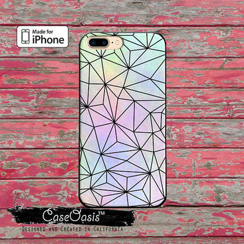 Pastel Rainbow Geometric Black Line Art Cute For iPhone 5 5s 5c Case iPhone 6 and 6 Plus iPhone 6s and 6s Plus iPhone SE iPhone 7 Plus Case