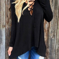 Black Criss Cross Hooded Shirt