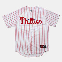 Majestic Philadelphia Phillies Baseball Shirt - White at Urban Industry