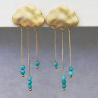SALE English Rain cloud earrings.  stud post gold earrings with tiny dangly turquoise rondelles