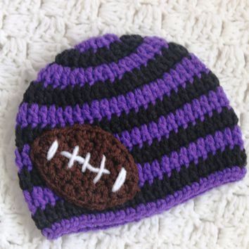 Ravens Baby Crochet Football Hat Football Team Beanie Baltimore Ravens Football Hat Purple Black Stripes