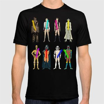 Glow in the Dark Naughty Starwars Lightsabers  T-shirt by Notsniw