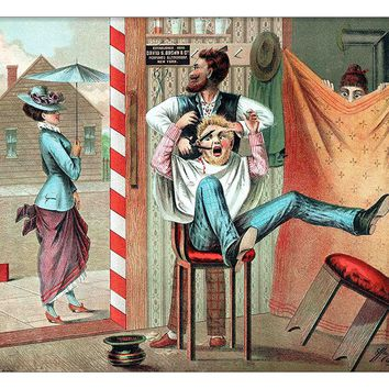 Barber Shop Funny Picture on Canvas Hung on Copper Rod, Ready to Hang, Wall Art Décor