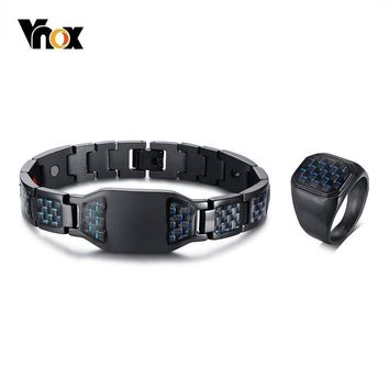 Vnox Stylish New Carbon Fiber Rings and Health Magnetic Bracelets Jewelry Sets for Men Male Gentleman Gifts
