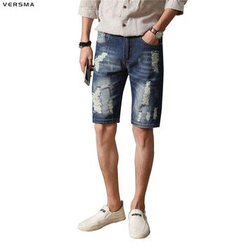 VERSMA Denim Mens Skinny Jeans Men Denim Shorts Male Bermuda Ripped Skinny Jeans for Men Stretch Slim Fit Mens Destroyed Jeans