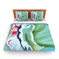 "Cathy Rodgers ""Peony Shadows"" Green Flower Lightweight Duvet Cover"