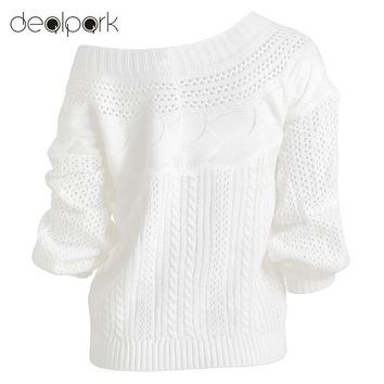 2016 Women's Sweater Off The Shoulder Knitted Sweater Hollow Out Pullover Stripes Long Lantern Sleeve Knitwear Jumper Top White