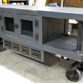 Steampunk Industrial Media Console Cart