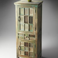 Antiqued Water Colors Accent Cabinet