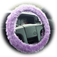 Lilac fluffy furry fuzzy car steering wheel cover heliotrope purple girly cute