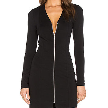 Ponte Stella Deep V Bodycon Dress in Black