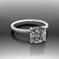 Forever Brilliant Moissanite Twist Shank Engagement Ring 2.5 CTW