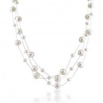 White Freshwater Pearl Illusion Multi Strand Necklace 16in