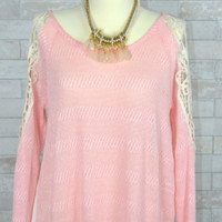 Blush Pink White Lace Cold Shoulder Chiffon White Tone Back Blouse
