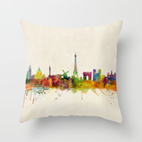 Paris Skyline Watercolor Throw Pillow by ArtPause