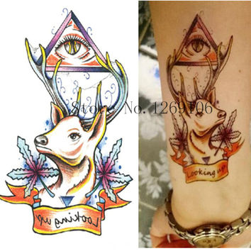 Beauty Deer Eyes Tattoo Cool Beauty Sexy Tattoo Waterproof Temporary Tattoo Stickers 19x12cm