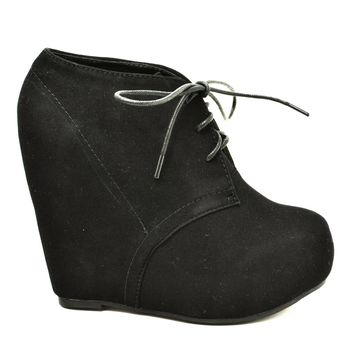 Camilla1 By Glaze, Women's Faux Suede Lace Up Platform Wedge Ankle Bootie