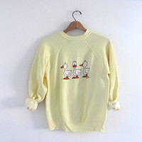 1980s vintage yellow Duck sweatshirt // M