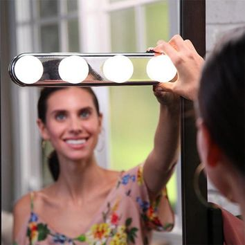 4 Bulb Hollywood Led Makeup Mirror Light Suction Cup Installation Dressing Table Vanity Light Bathroom Wall Lamp Battery Powered