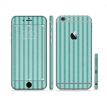 The Teal Vintage Stripe Pattern v7 Sectioned Skin Series for the Apple iPhone6s Plus