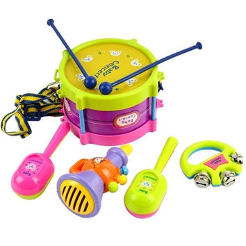 5pcs New Roll Drum Musical Instruments Band Kit Kids Children Toy Gift Set 8840 Baby = 1745658180