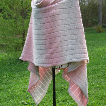 gray - pink knitted poncho boho  shawl warm trendy stylish accessory of quality class art coat spring autumn cold summer