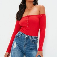 Missguided - Red Button Front Long Sleeve Ribbed Bardot Bodysuit