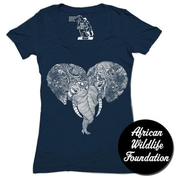 Punch Trunk Love, Elephants, Heart, Deep V-Neck, Women's Tee, T-Shirt, Available S-2XL