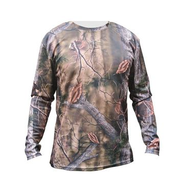 Men Hunting Bionic T-shirt Long Sleeve Quick Dry Breathable Camouflage Shirt Hiking Camping Tactical Military Outdoor Camo Shirt