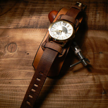 Steampunk Wirst Watch Men, wirst watch for men, Brown leather watch  men , Bracellet watch men christmas gifts