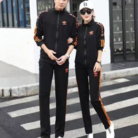 """Adidas"" Sport Casual Unisex Letter Stripe Zip Cardigan Coat Couple Long Sleeve Set Two-Piece Sportswear"