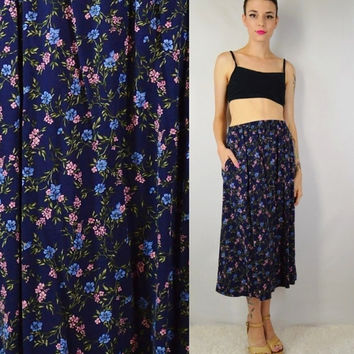 90s Floral Skirt Tea Length Soft Grunge Gypsy Boho Medium Vintage Womens Clothing Elastic Waist Skirt Navy Pink 1990s Tumblr Babe