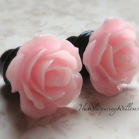 Rose Plugs for Gauged Ears, Choose your color, Size 00, 0, 2, 4, 6, 8,10,12,14 gauge, Also available as regular earrings
