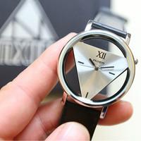 Leather Band Stainless Steel Sport Watch