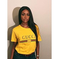 """Gucci""Hot letters print T-shirt top (The size runs smaller a little)"