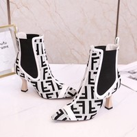 FENDI   Trending Men Women Black Leather Side Zip Lace-up Ankle Boots Shoes High Boots